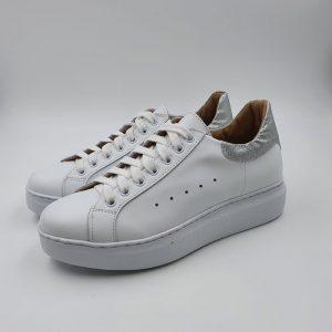 Crown Donna Sneaker Bianco Argento Alex 1
