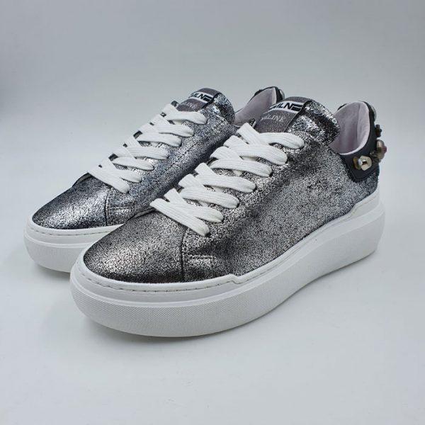 Meline Donna Sneaker Bassa Sportiva Argento Borchie Non002i19 1