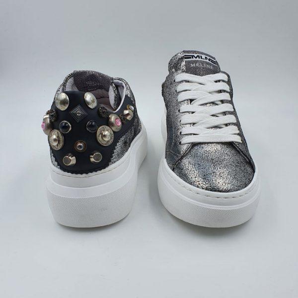 Meline Donna Sneaker Bassa Sportiva Argento Borchie Non002i19 2