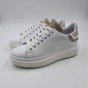 Meline Donna Sneaker Bianco Oro No1606 1